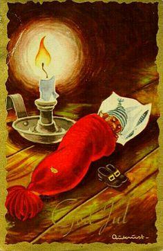 Julekort Kjell Aukrust Nissen sover i lua. Scandinavian Christmas, Vintage Postcards, Elves, Gnomes, Norway, December, Christmas Postcards, Pixies, Holiday