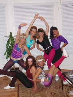 For your 10 creative group Halloween costume ideas 80s Workout Costume, 80s Costume, Costume Ideas, Funny Group Halloween Costumes, Halloween Party, Girl Halloween, Halloween Recipe, Women Halloween, Halloween Games