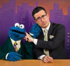 This is what happened when John Oliver and Cookie Monster stopped by to help us cover the news. Culture Club, Pop Culture, J Oliver, Dragons Love Tacos, Make Em Laugh, Jon Stewart, The Daily Show, Coffee And Books, Jim Henson