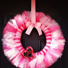 DIY wreath!! would be so cute for any little girls door or over the bed :-)