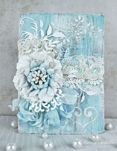 Simply gorgeous Shabby Chic card with a lot of yummy layers! I truly love this one! Prior Pin states: Mixed Media Wedding Card ~ DT for Helmar - Scrapbook.com