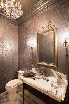 powder room wallpaper. powder room with navy wallpaper. #navy