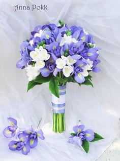 Цветы из глины, полимерная глина, букет, букет невесты, свадьба, свадебные цветы