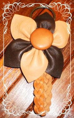 handmade tan brown flower leather key ring fob by by G2Pleather, $9.99