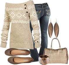 Off-the-shoulder sweater, skinny jeans, and flats. Pair with feather earrings.