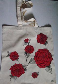 Ręcznie malowana torba w róże