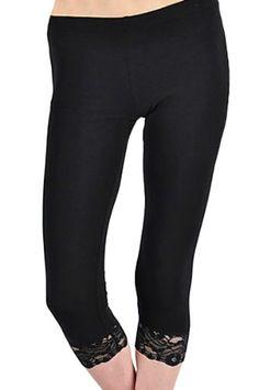 8fb88196df6f9a KMystic Cotton Blend Lace Trim Capri Leggings Small Black >>> Check
