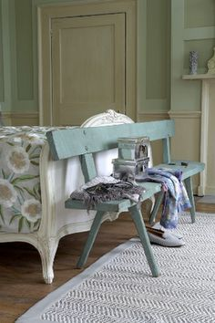 rustic bench in blue posted by Room Service