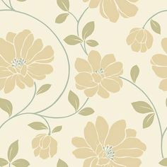 Might be nice as a feature wall in my foyer.     The Wallpaper Company - 20.5 In. W Ochre, Cream and Sage Large Scale Modern Floral Trail Wallpaper.