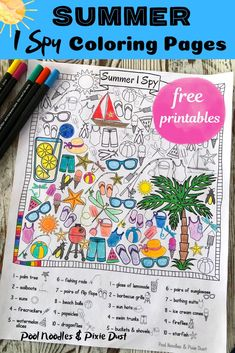 Summer I Spy Coloring Pages – Pool Noodles & Pixie Dust – Stephanie Trapp Free Summer, Summer Kids, Summer Pool, Summer Activities For Kids, Fun Activities, Travel Activities, Therapy Activities, Summer Coloring Pages, Kids Coloring
