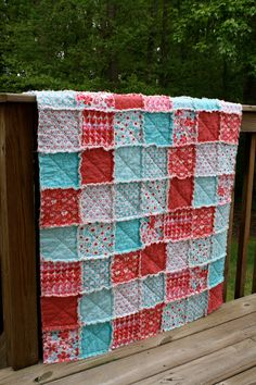 Baby Rag Quilt, Aqua and Red by Michael Miller, girl, red, aqua, pink, turquiose, photo prop, butterflies, hearts and flowers. $74.00, via Etsy.