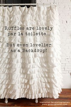 Ruffle Backdrop White Shower Curtain Curtains Fabric