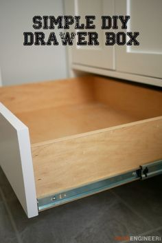Kitchen Cabinet Drawers, Cabinet Plans, Diy Kitchen Cabinets, Built In Cabinets, How To Make Drawers, Diy Drawers, How To Build Cabinets, Wood Drawers, Woodworking Furniture