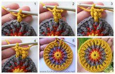 Primer palo Frenesí Crochet Potholder Ronda 4 primer palo Frenzie Crochet Potholder
