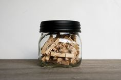 clothespins in a mason jar