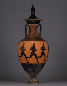 Pottery: Panathenaic amphora with lid: Athena (back: foot-race). Greek. Attic. ca. 333-332 BC