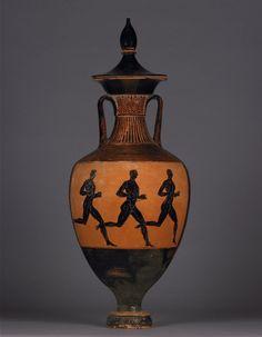 Pottery: Panathenaic amphora with lid: Athena (back: foot-race). Greek. Attic. ca. 333-332 BC