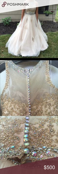 Gold two piece prom dress Beautiful two piece ball gown worn once excellent condition fit like a size 6 Dresses Prom