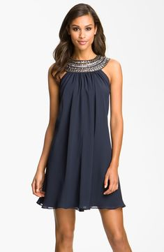 JS Boutique Embellished Chiffon Trapeze Dress | Nordstrom