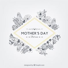Free vector Floral mothers day badge in retro style #12367