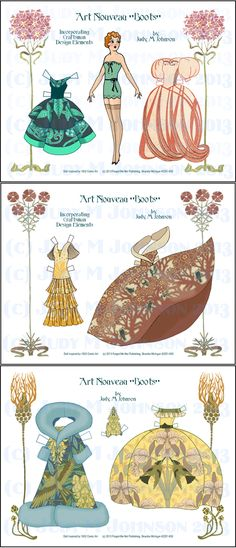 """ART DECO/NOUVEAU """"BOOTS"""" by Judy M Johnson Changed her coloring, to dress her in these stylized costumes. Utilizing Art Nouveau Design Elements, combined with some classic Art Deco shapes, I have created generally, transitional designs in her clothes...between Nouveau and Deco."""