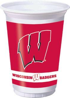 University of Wisconsin 20 oz Plastic Cups - Bulk Pricing