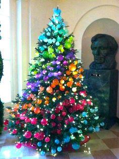 Rainbow Christmas Tree, Christmas Tree Themes, Xmas Tree, Christmas Tree Decorations, Christmas Crafts, Woodland Christmas, Christmas Fairy, Christmas Holidays, Happy Holidays