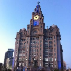 Liver building via Grace McGinnis Liverpool Soccer, Liverpool England, Places Ive Been, Cities, Beautiful Places, Europe, Culture, Spaces, Club