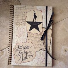 """Hamilton journal I made inspired by lyrics written by Lin-Manuel Miranda. The music on the cover page are """"My Shot"""" and """"Burn""""(the one that looks burned) #Hamilton #MindAtWork"""