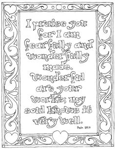 Coloring Pages For Kids By Mr Adron Printable Psalm 139 14 Mandala Coloring Pages, Colouring Pages, Coloring Pages For Kids, Coloring Books, Fairy Coloring, Kids Coloring, Psalm 139 14, Isaiah 14, Bible Verse Coloring Page