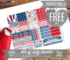 FREE 4th of July Printable Planner Stickers. Do not Purchase this listing. Bellow is the DOWNLOAD LINK through Dropbox.