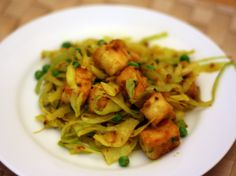 Dinner Tonight: Dry-Cooked Cabbage with Tofu and Peas