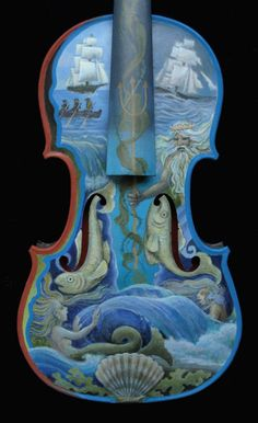 "An actual violin painted for the New Jersey Symphony Orchestra fundraiser on the theme : Debussy's ""La Mer"""