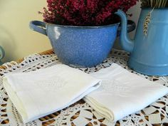 2 French linen table napkins serviettes by frenchvintagedream