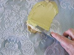 how to use lace with wood icing textura paste, chalk paint, how to, painted furniture, Spreading Textura Paste over lace