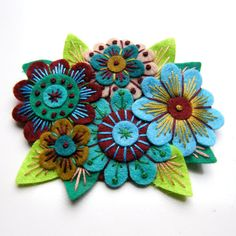 NOVEMBER SALE VINTAGE Bouquet felt flower brooch with freeform hand embroidery