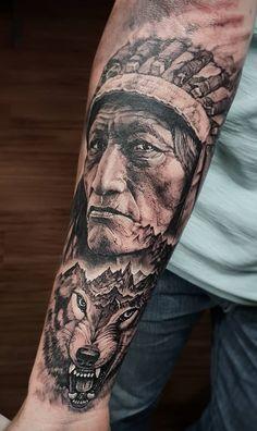 Full Arm Tattoos, Top Tattoos, Sleeve Tattoos, Tattoos For Guys, Tatoos, Native Indian Tattoos, Native American Tattoos, Native American Wolf, American Indian Art
