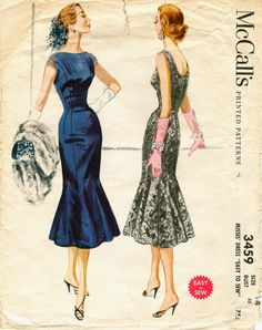 McCalls 3459 Vintage 1950s Rockabilly Fishtail Cocktail Party Dress Pattern B32