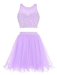 Short Beading Prom Dress ,Two Pieces Tulle Evening Dress