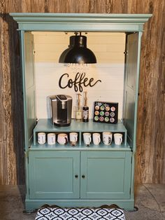 Bar Armoire, Bar Hutch, Armoire Makeover, Furniture Makeover, Diy Furniture, Armoire Redo, Coffee Bar Station, Home Coffee Stations, Coffee Cabinet