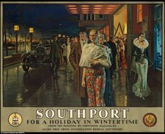 Vintage travel poster produced for the London Midland Scottish Railway LMS to promote winter travel to Southport Merseyside The poster is illustrated British Travel, British Seaside, British Isles, National Railway Museum, Railway Posters, Seaside Resort, Poster Prints, Art Prints, Vintage Travel Posters