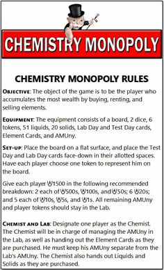 am SO excited to share this Chemistry Monopoly game with you all!I am sharing it with special permission from the Director of Academics who was kind enough t Chemistry Classroom, High School Chemistry, Chemistry Lessons, Teaching Chemistry, Science Chemistry, Middle School Science, Physical Science, Science Lessons, Science Education