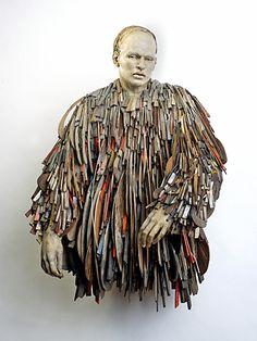 """sculpture Christina Cordova """"Todoaquello"""" clay ,wood ,tin"""