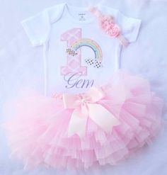 Baby girl 1st Birthday OutfitRainbow Birthday by KidsFunLand
