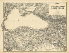 Istituto Topografico Militare Mar Nero - Russia - Turchia - 1880 ca