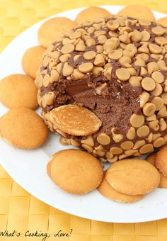 """Chocolate Peanut Butter Cake """"Cheese"""" Ball - looks like a fun thing to serve with those Nilla cookies!"""