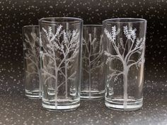 The Forest - Etched Hiball Tumbler Glass Set - One Set Available Only, Pagan, Wiccan, Nature Inspired Present, Christmas, Birthday by Etchcrafts on Etsy