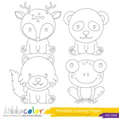 Printable Cute Woodlands Animals Coloring Pages & Digital Stamp -2