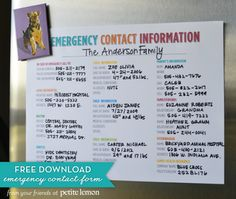 Free printable emergency contact information sheet to have important phone numbers available for the family and babysitters