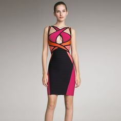 Neonice Abstract Colorblock Dress M353M